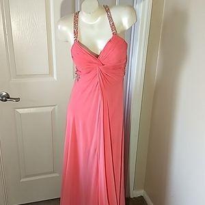 Faviana Peach Gown